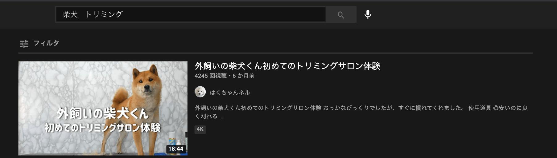 youtube-sibainu trimming-top display