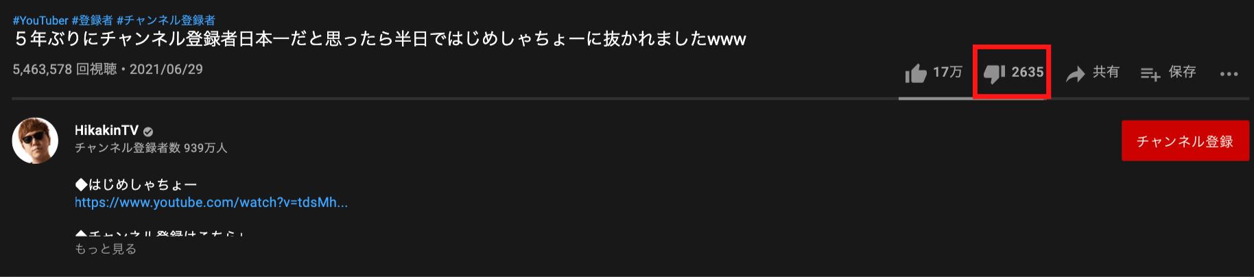 youtube-hikakin-Low rating